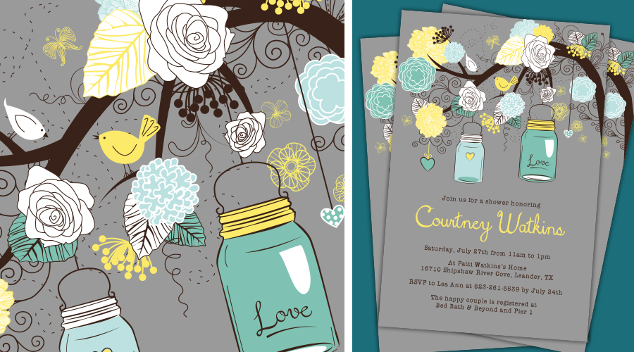 VINTAGE MASON JARS  :: Bridal Shower Invitations