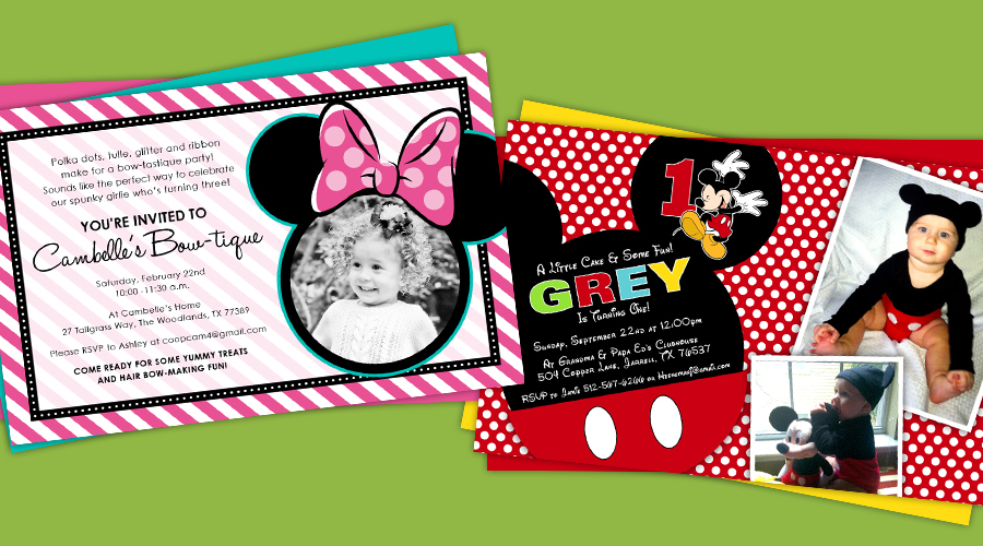 MINNIE & MIKEY  :: Birthday Party Invitations