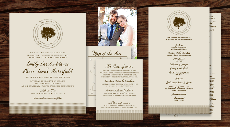 RUSTIC TREE  :: Invitations + Map / Info Card + Ceremony Programs