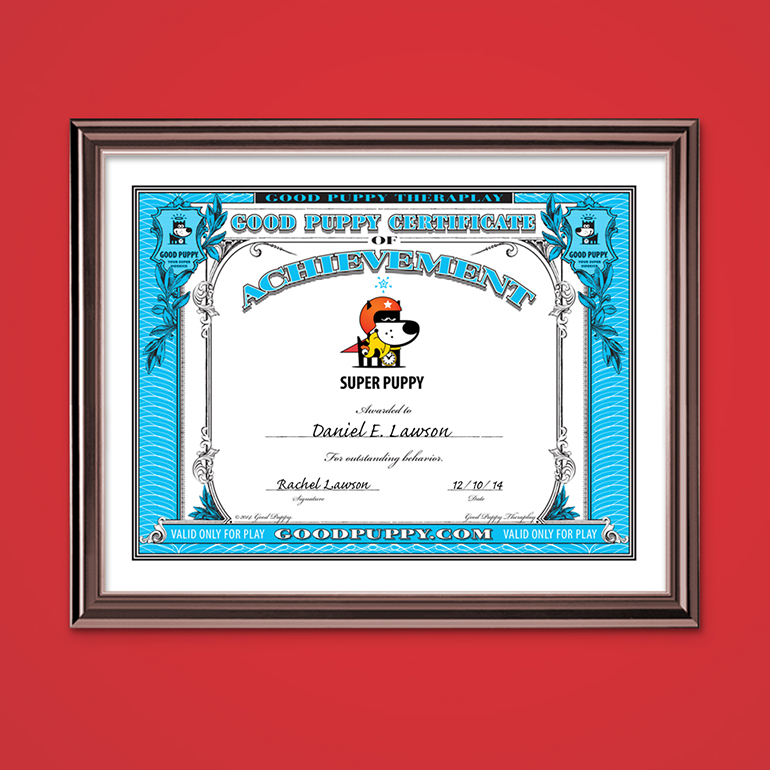 GOOD PUPPY® CBS CERTIFICATES OF ACHIEVEMENT