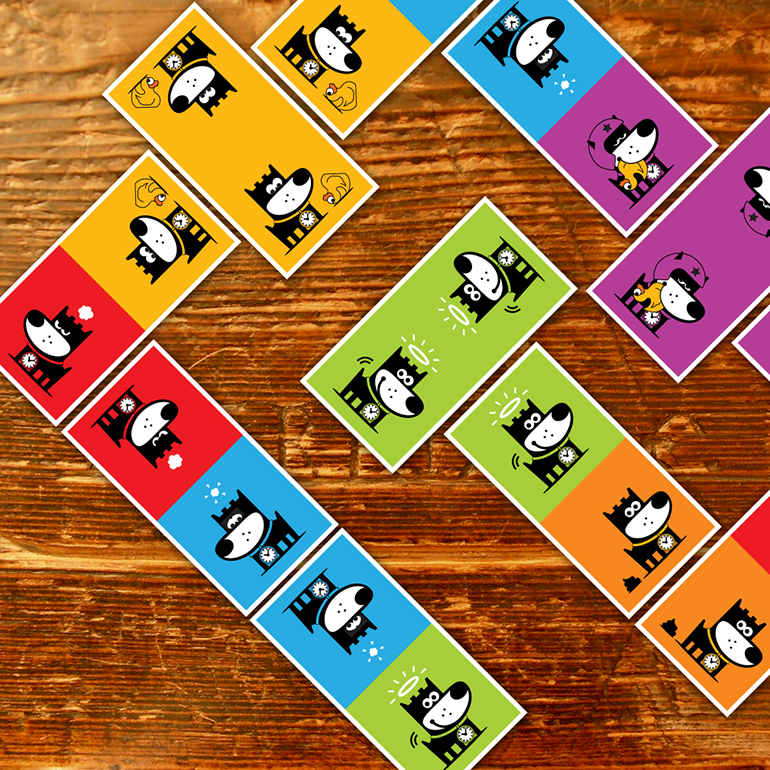 GOOD PUPPY CHILDREN EMOTIONAL SYSTEM .  EMOTIONS DOMINOES   Play with Roger's emotions in this didactic game that familiarizes children with feelings. The GOOD PUPPY® Emotions Domino is recommended in combination with the GOOD PUPPY® Emotions Chart, Dice & Emotimatch game.