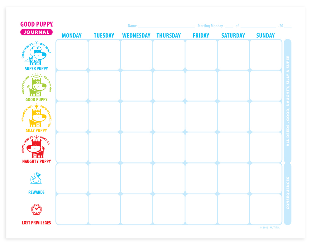 GOOD PUPPY Children Behavioral & Emotional System . Weekly Journal Pages