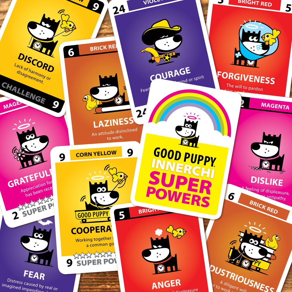 GOOD PUPPY CHILDREN EMOTIONAL SYSTEM .  INNERCHI SUPER POWERS    3 GAMES IN 1!   A real life experience game, a memory game and a challenge game created to aid children, ages 3 to 9, in the recognition, understanding and verbalization of emotions and the development of a healthy moral code.