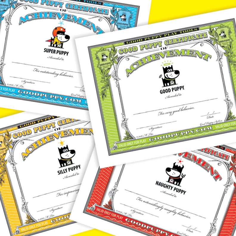 GOOD PUPPY . Printable PDF . Certificates of Achievement Mini