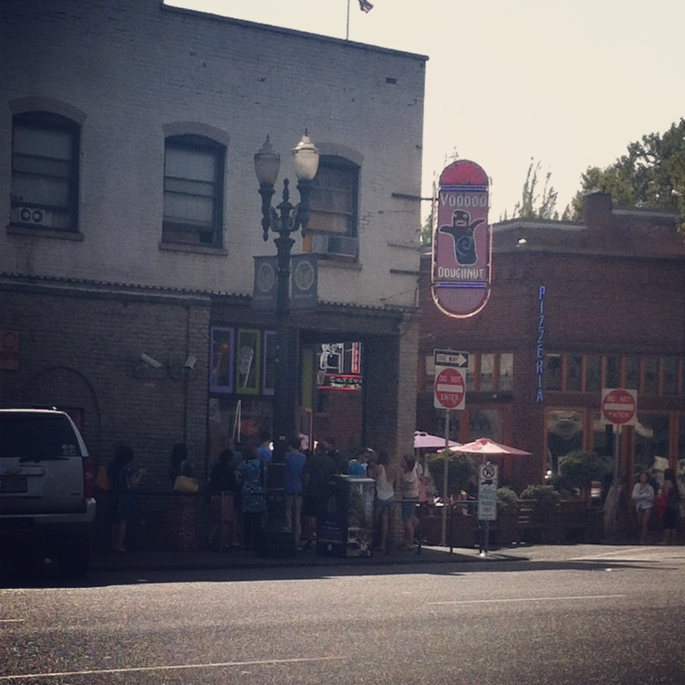 Perma-lines outside Voodoo Donut.