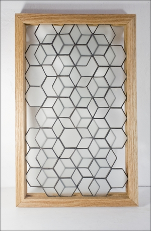 Framed Stained Glass Panel: OPENWORK HONEYCOMB — BESPOKE