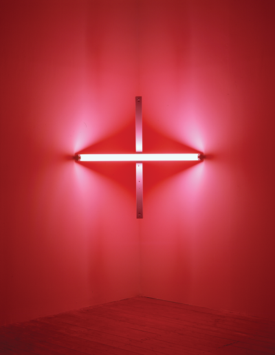 Dan Flavin, untitled [to Barbara Wool], 1970. Flourescent tubes and metal fixtures, 48 x 48 x 8 inches.  The Menil Collection, Houston, Gift of the artist.