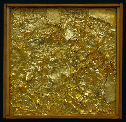 Robert Rauschenberg,  Untitled (Gold Painting),  1956. Gold leaf, wood, fabric, and cardboard in wood and glass frame, 10½ x 10⅞ x 1½ inches.  The Menil Collection, Houston, Gift in memory of Dominique de Menil by Susan and Francois de Menil and their family.