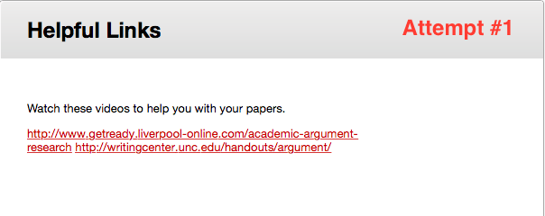 Example of links displayed in a non-accessible manner.