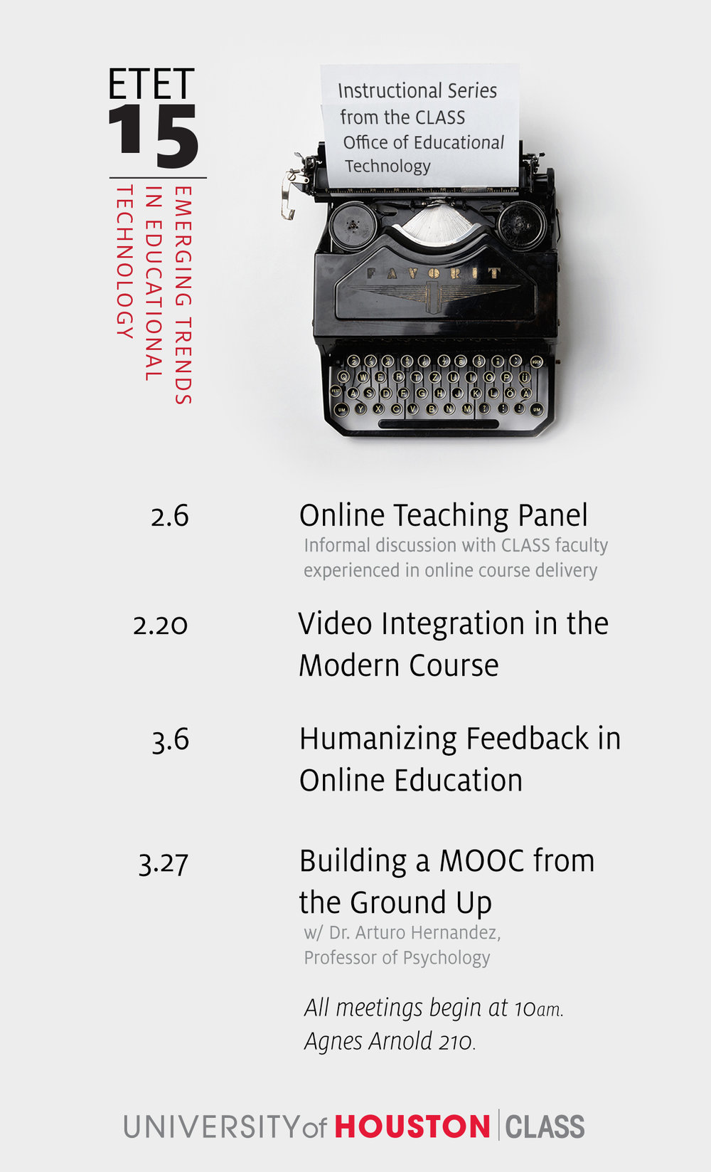 Flier Design I created for the first Emerging Trends in Educational Technology series at UH