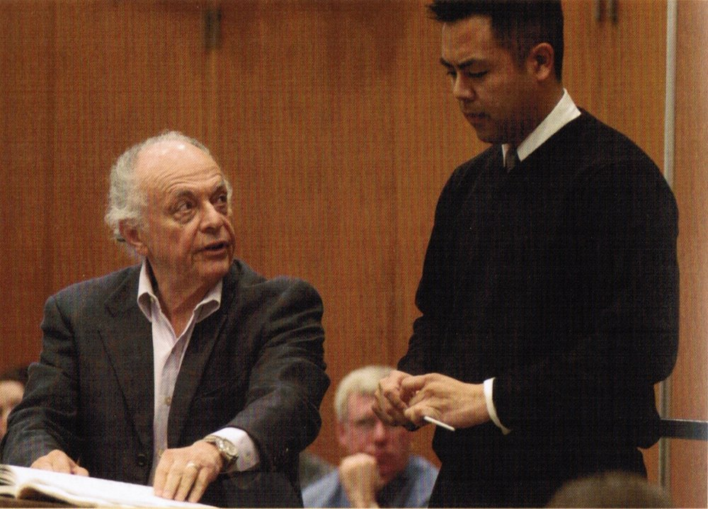 Caoile with Maazel at the University of Michigan