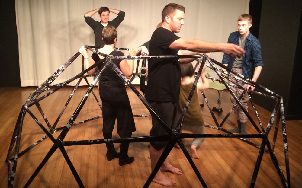 Members of the Sparkfinding mission create a 2V Geodesic Dome.