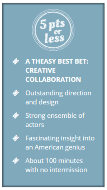 """""""BEST BET"""" and a spectacular review from Theatre is Easy."""