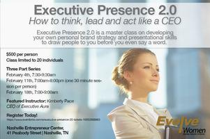 Dates:February 4, 11, and 18 • 7:00 am-9:00 am •REGISTER Location:Nashville Entrepreneur Center Price:$500Registration limited to 20 people per class Instructor:Kimberly Pace, CEO of Executive AURA