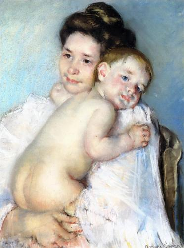 Mother Berthe Holding Her Baby,  Mary Cassatt, 1900