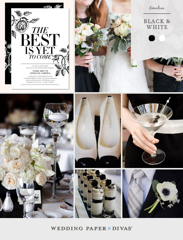 stacey day - timeless black and white wedding invitation