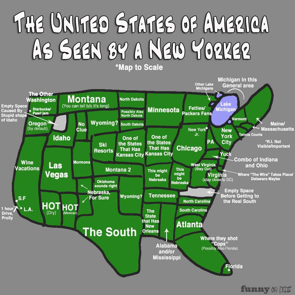 the map of America as seen by a new yorker.