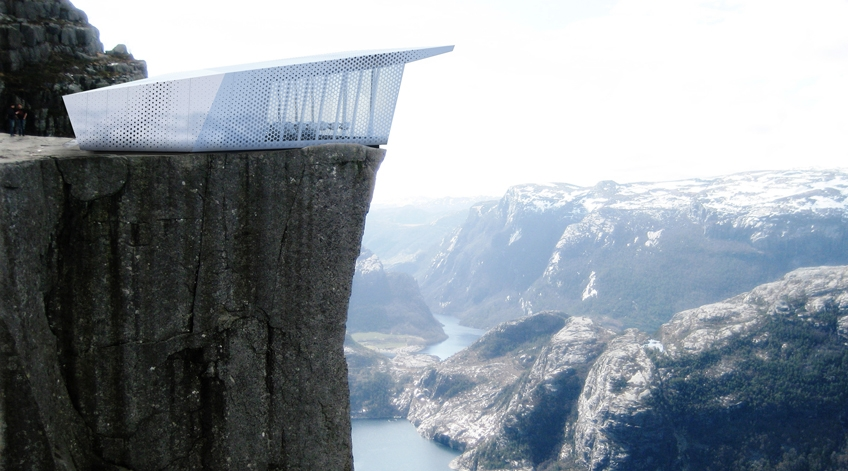 Pop-Up Restaurant Will Sit Atop Famous Buildings and Mountain.    Hope i'm lucky enough to at least see it once!