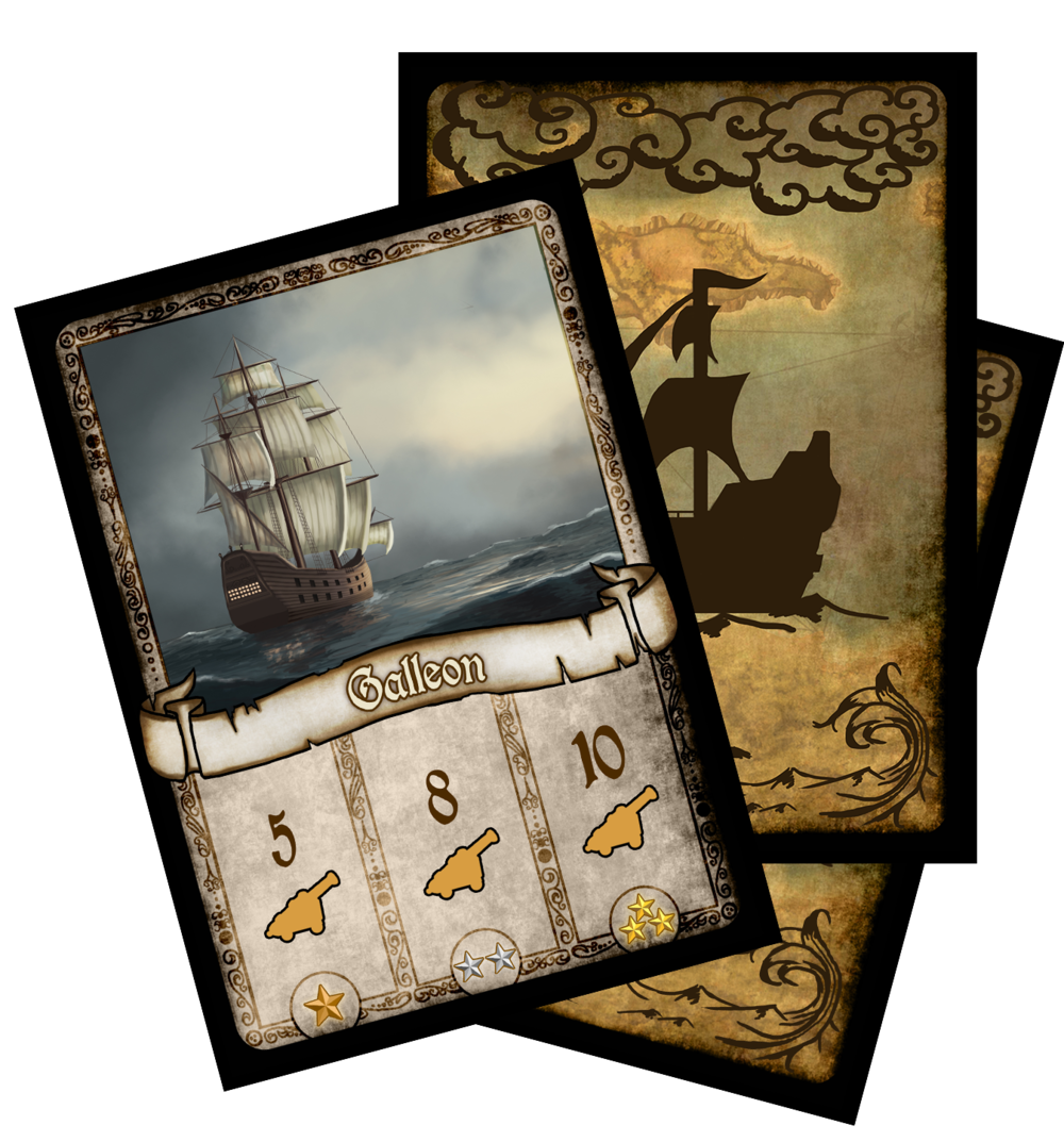 14 Ship Cards, each offering a different encounter for players to engage while scouring the seas.