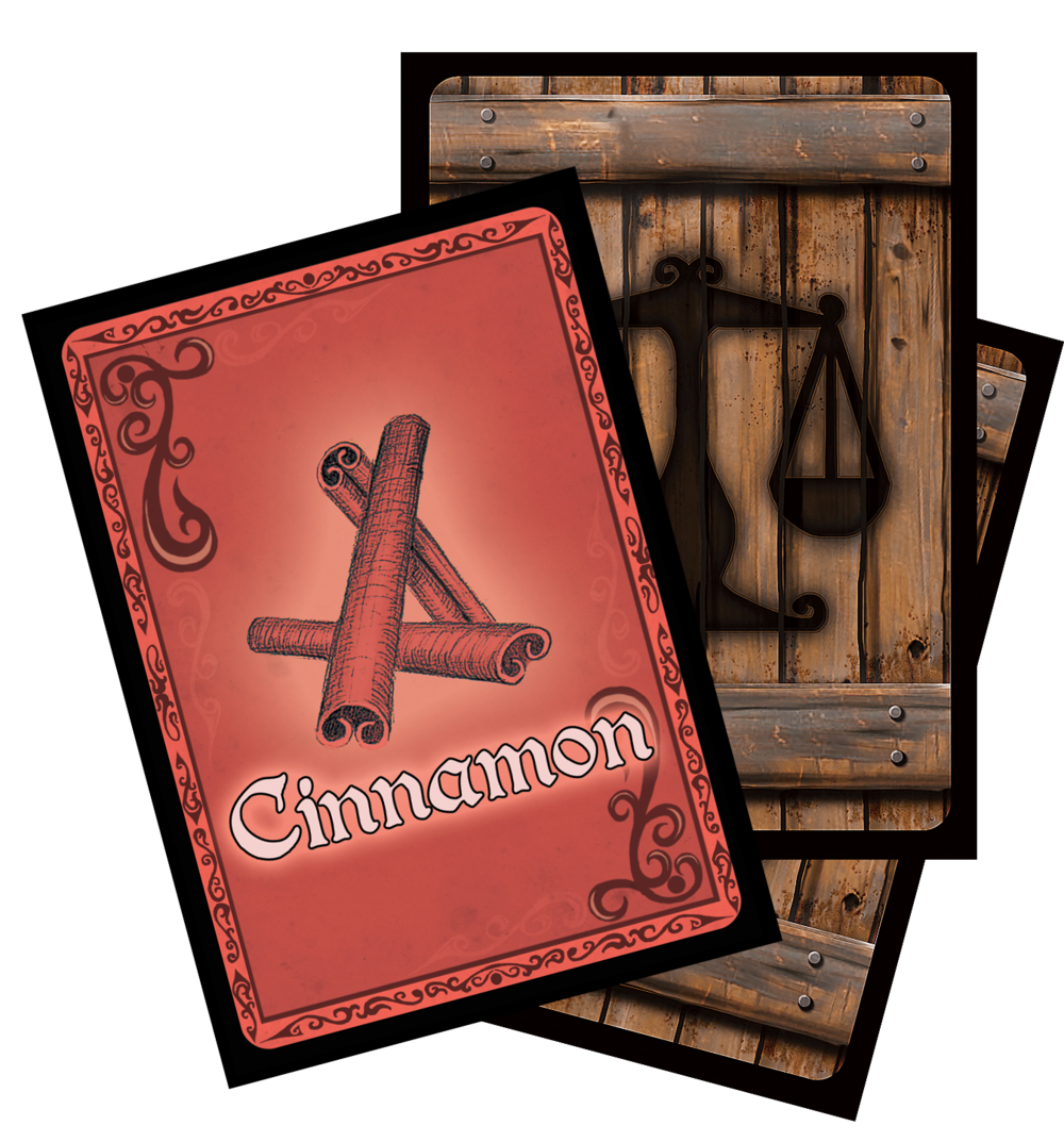 60 Cargo Cards, in six variations. Players can steal or purchase cinnamon, rum, paprika, tobacco, fruit, and sugar during each game. Supply and demand for each good is constantly changing, so it a good idea to diversify the cargo in your hold.