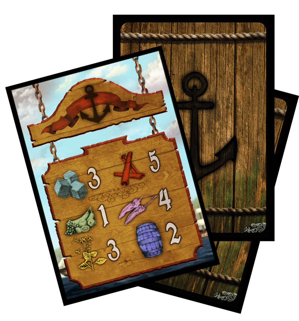 24 Port Cards, each with a different array of prices for the various goods within Privateer. Each port will receive a different Port Card each time a player sells their haul, creating a fluid economy throughout the game's duration. Players will have to race to each port to receive the best prices.
