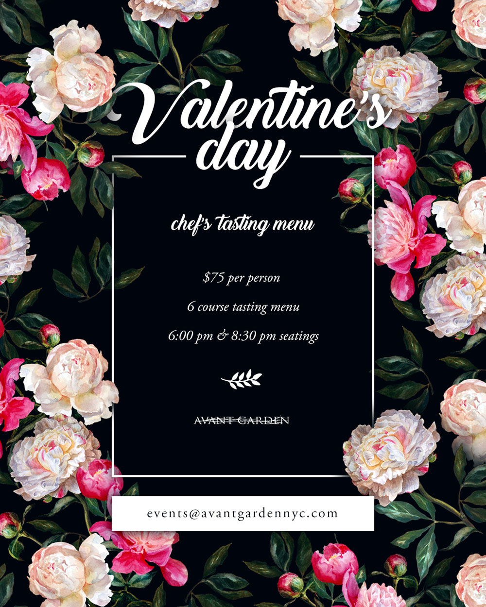 Vday Flier Design For Avant Garden NYC