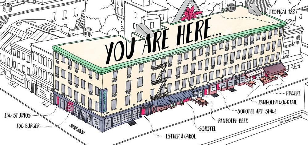 Neighborhood map for Sohotel group