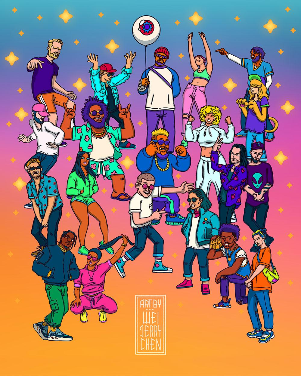Artist Illustration assets for  TheGreatestDayEver  Festival