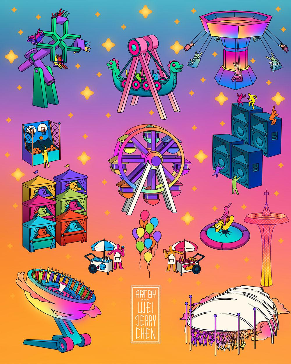 MISC Illustration assets for  TheGreatestDayEver  Festival