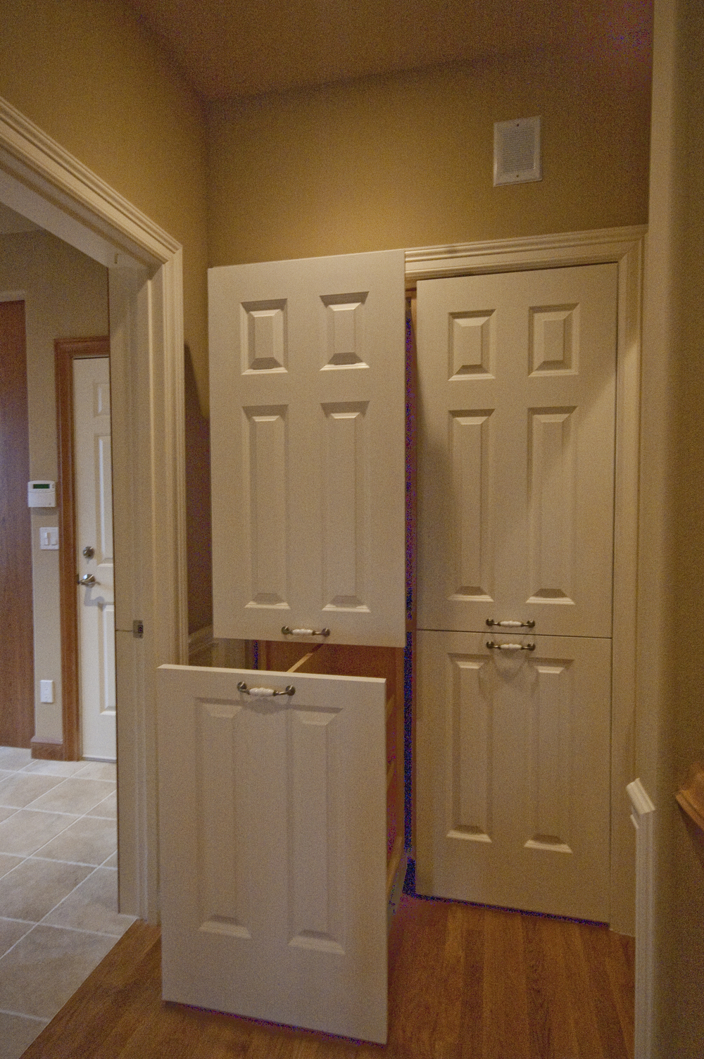 Custom full extension slide-out pantry from modified doors