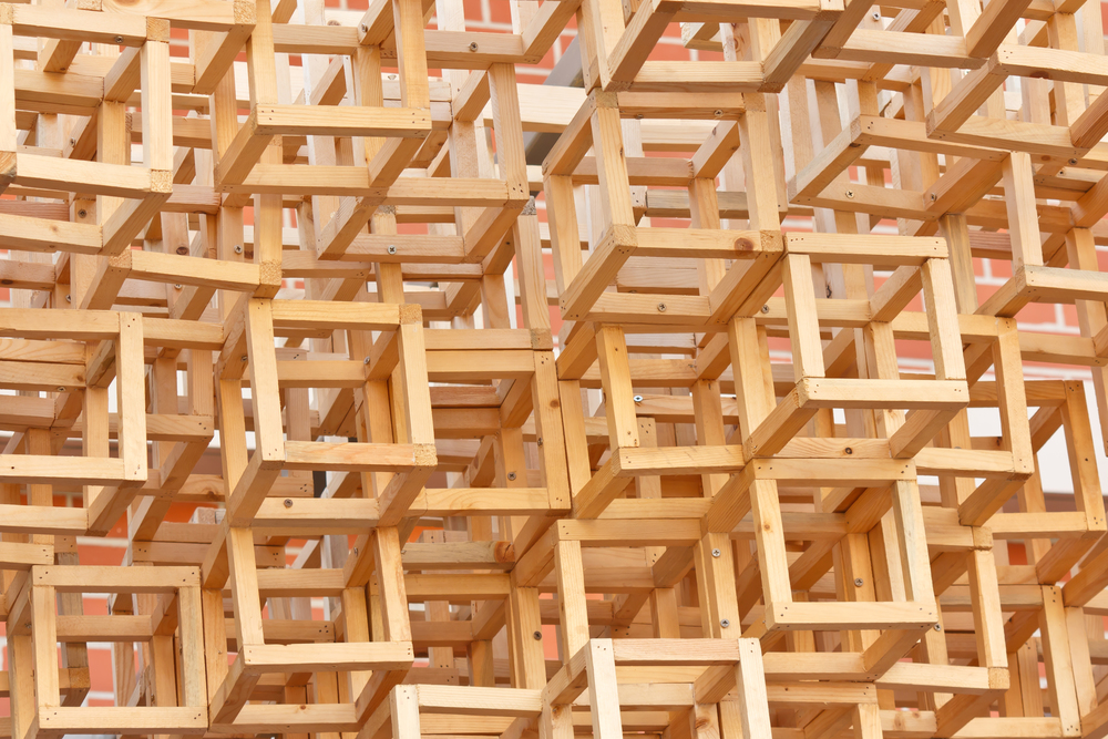 artistic stacked wood crates