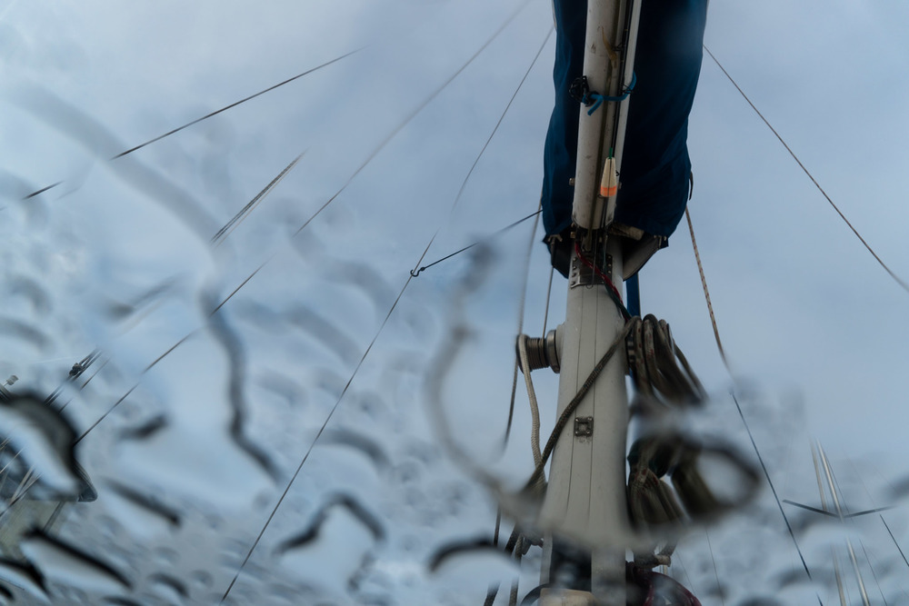 Beneath the deck of a sailboat after the rain. (St. Augustine, FL)