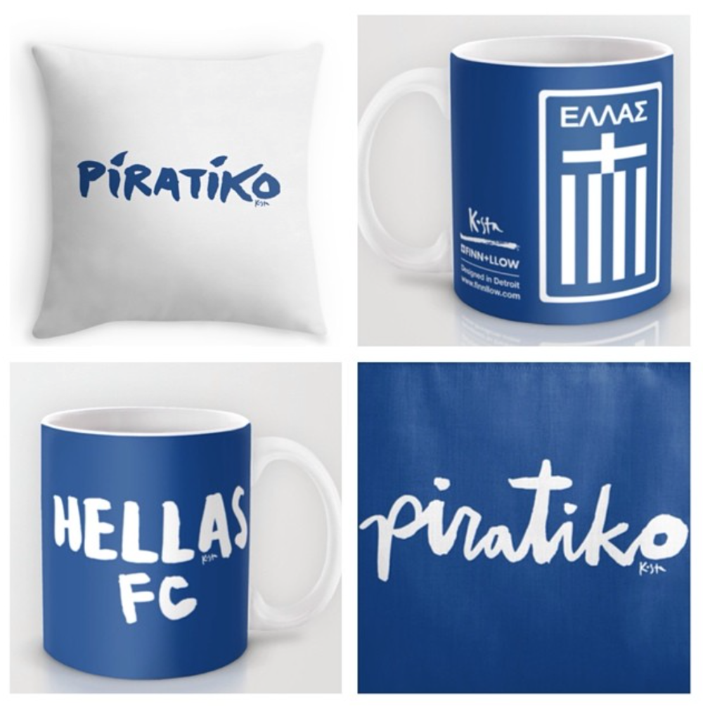 Greece Football Team merchandise! Show your love for Hellas with Piratiko blue + white gear.
