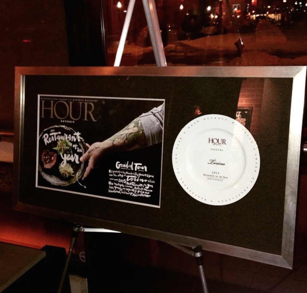 Hour Detroit 2015 Restaurant Of The Year Award presented to Torino Ferndale, March 3, 2015.