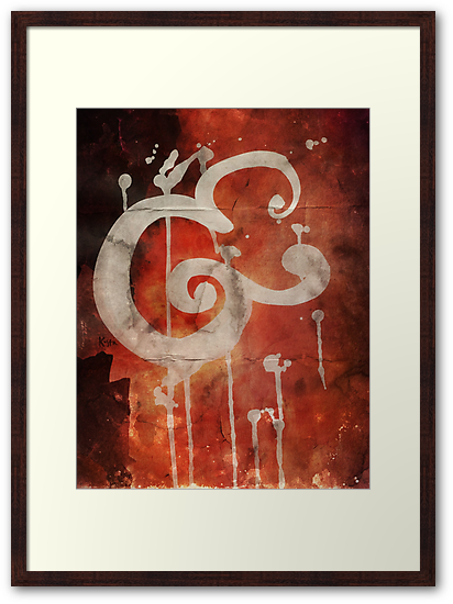 Abstract Ampersand Bold Brush Script Framed in Red