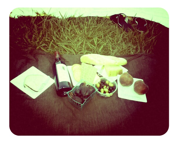 l.a. sunsets. cheese, baguette, olives, figs, peaches, wine. easy rider at  hollywood cemetery . perfect.   -a
