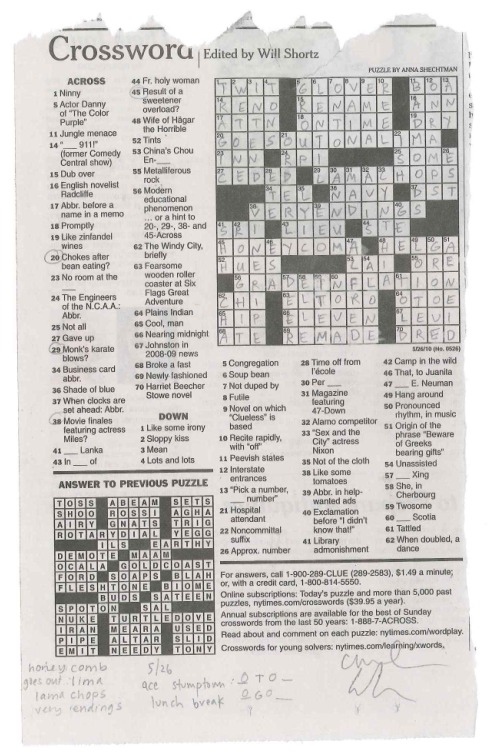 yep, that's a wednesday puzzle, finished by 1:30pm. wednesday may 26th — ace stumptown   -a&c