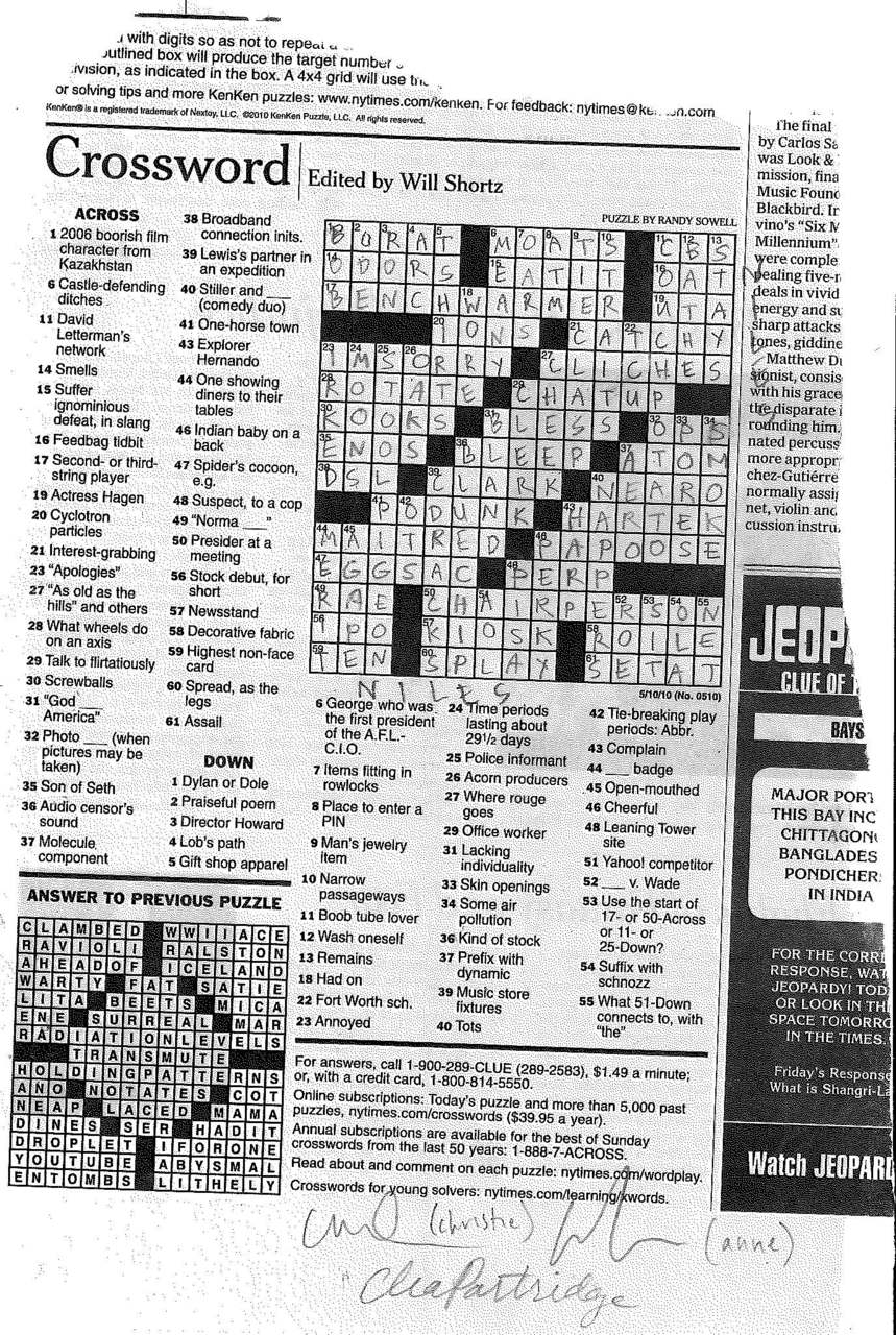 monday's crossword on wednesday may 12th — rontom's with clea partridge -a&c