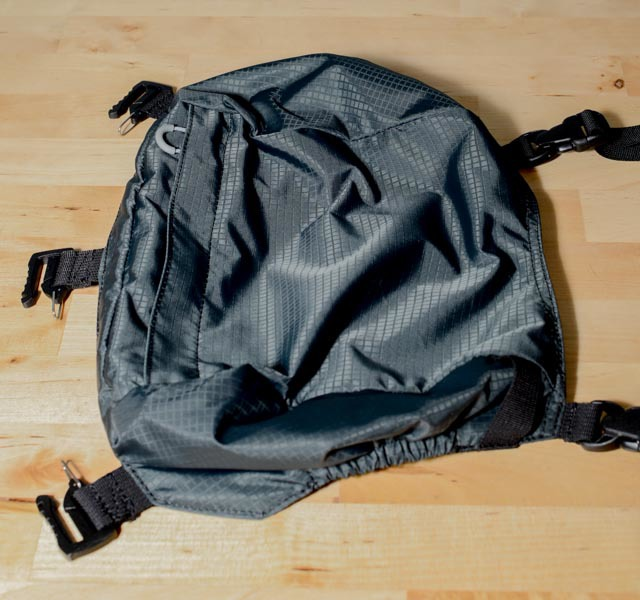 This is the top pocket accessory. This is super handy if you are going on a weekend hike and hoping to use this bag as your primary backpack for the trip. This pocket could hold some critical equipment to make that sort of trip possible. It attaches with 5 quick clips.