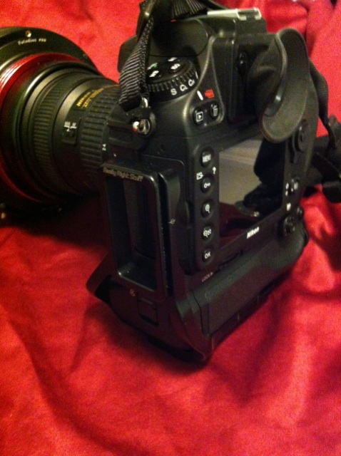The Really Right Stuff L bracket on the side of the camera. Because I use the extra battery pack, I had to order the correct bracket.