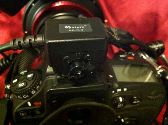 The TTL cable attached in the camera's hot shoe