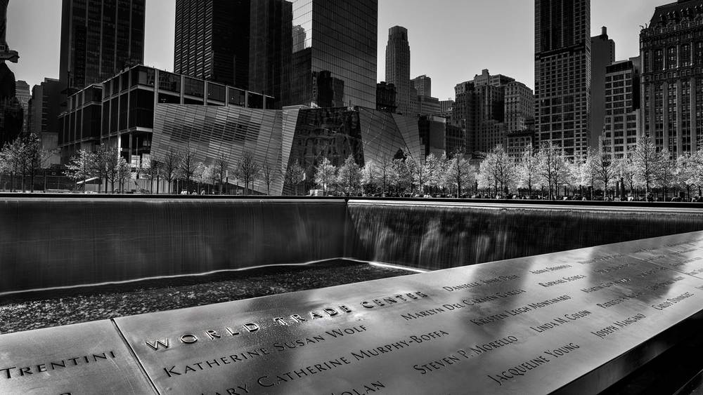 The 9 11 memorial at the site of the world trade center in new york