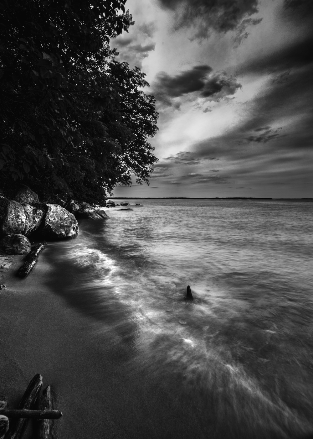 The dramatic rocks and waves at Leesylvania State Park were captured with a merge of three photographs