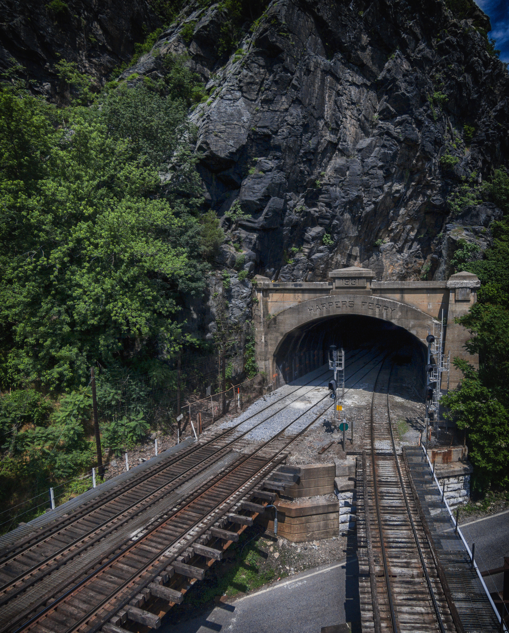 The Harpers Ferry train tunnel, as seen from above via a DJI Phantom Vision 2+ quadcopter.