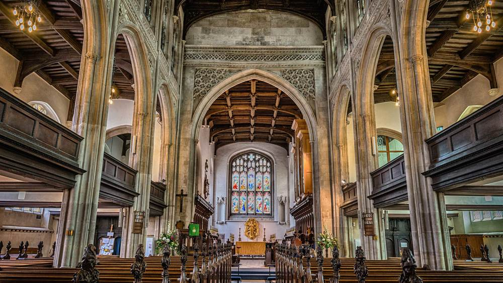 Inside the Great St. Mary's Church in Cambridge, United Kingdom