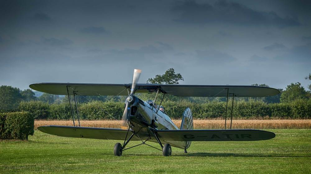 The Stampe returning from her flight
