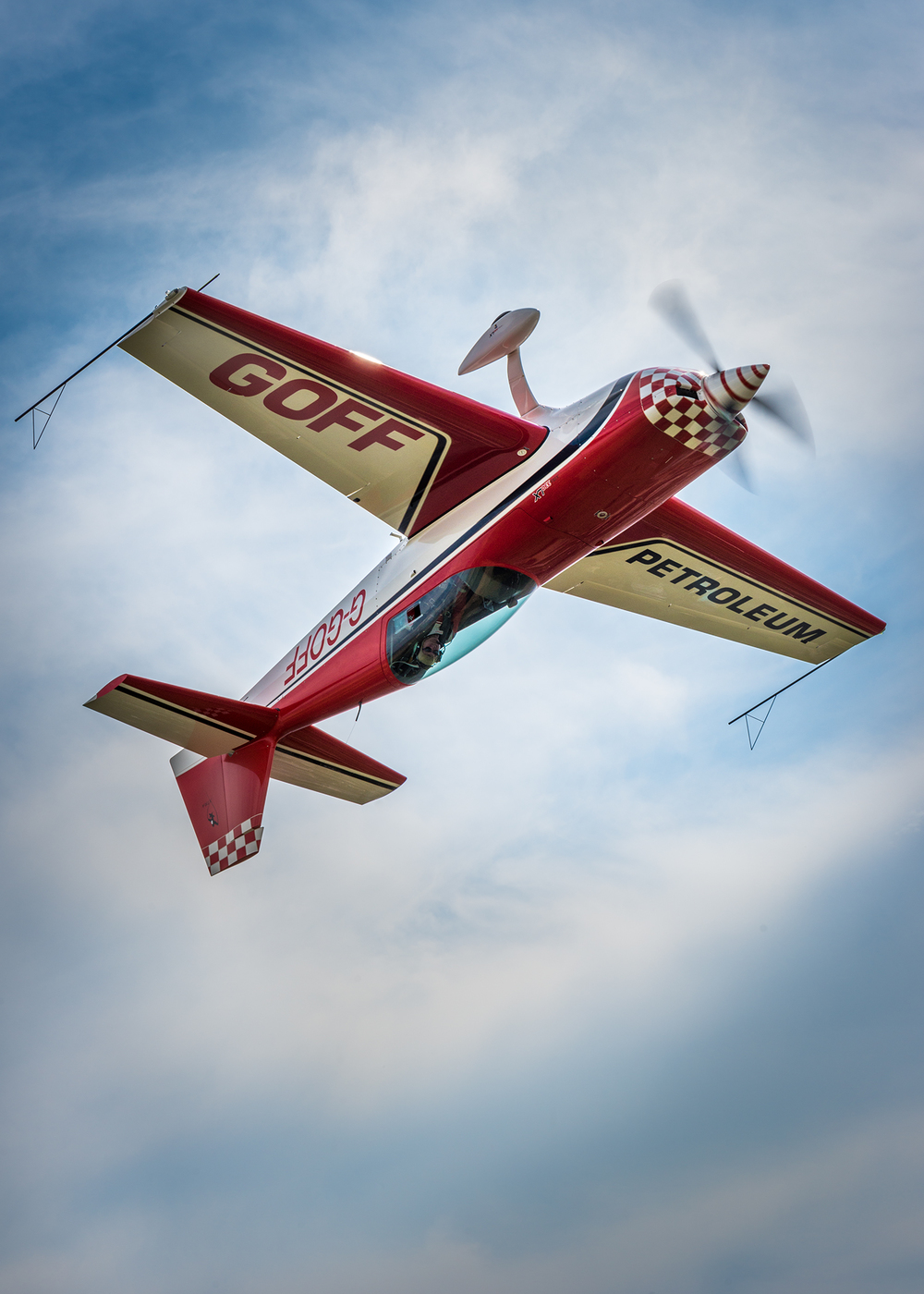 The GOFF PETROLEUM Extra is extremely agile, as demonstrated here by long time stunt pilot Mark