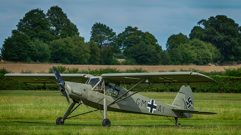 This German World War II aircraft is called a Frieseler Storch and was one of the more unusual characters that took to the skies - it's an incredibly slow flying airplane and has a very awkward way of moving through the sky.