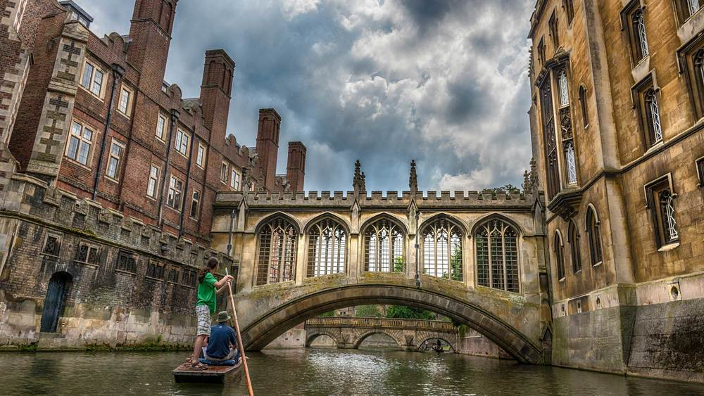 Punting on a beautiful day in Cambridge allowed me to get this dramatic photograph of the Bridge of Sighs.