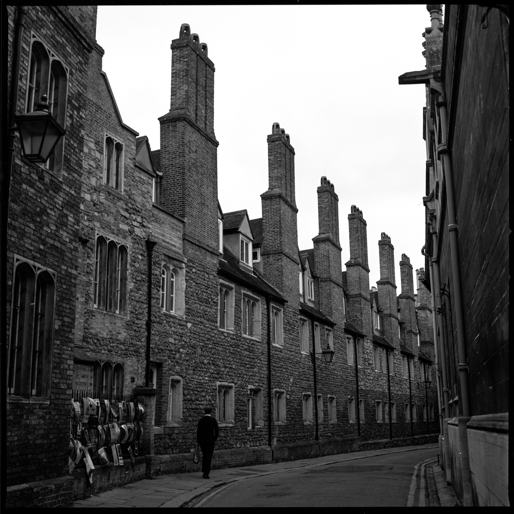 This has quickly become one of my favorite streets to photograph with film. It's located in Cambridge and the row of chimneys is so very British! Shot on Ilford Delta 100 with Hasselblad 503CX.